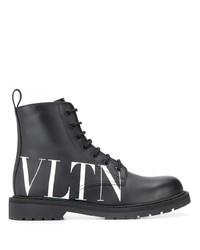 schwarze und weiße Lederfreizeitstiefel von Valentino