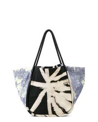 schwarze und weiße Mit Batikmuster Shopper Tasche aus Segeltuch von Proenza Schouler