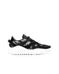 schwarze und weiße niedrige Sneakers von Jimmy Choo
