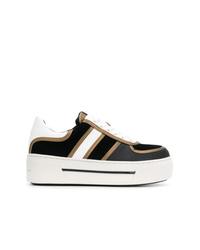 schwarze und weiße niedrige Sneakers von MICHAEL Michael Kors