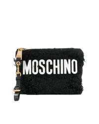 schwarze und weiße Pelz Clutch von Moschino