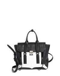 schwarze und weiße Satchel-Tasche aus Leder