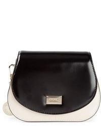 schwarze und weiße Satchel-Tasche aus Leder von DKNY