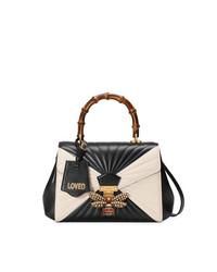 schwarze und weiße Satchel-Tasche aus Leder von Gucci