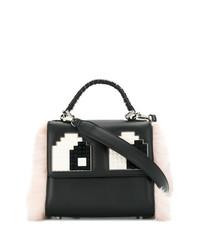 schwarze und weiße Satchel-Tasche aus Leder von Les Petits Joueurs