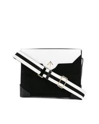 schwarze und weiße Satchel-Tasche aus Leder von Manu Atelier