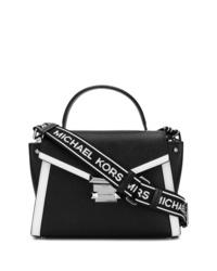 schwarze und weiße Satchel-Tasche aus Leder von MICHAEL Michael Kors