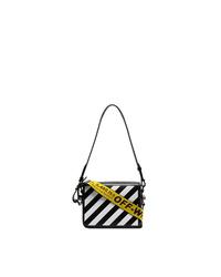 schwarze und weiße Satchel-Tasche aus Leder von Off-White