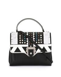 schwarze und weiße Satchel-Tasche aus Leder von Paula Cademartori