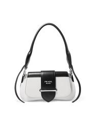 schwarze und weiße Satchel-Tasche aus Leder von Prada