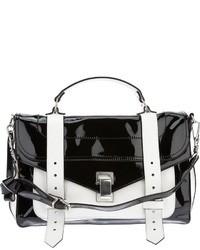 schwarze und weiße Satchel-Tasche aus Leder von Proenza Schouler