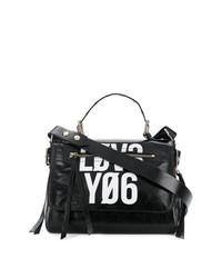 schwarze und weiße Satchel-Tasche aus Leder von RED Valentino