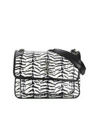 schwarze und weiße Satchel-Tasche aus Leder von Saint Laurent