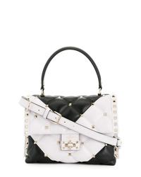 schwarze und weiße Satchel-Tasche aus Leder von Valentino