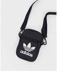 schwarze und weiße Segeltuch Bauchtasche von adidas Originals