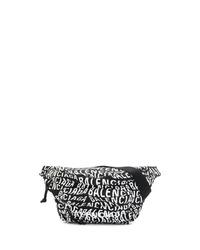 schwarze und weiße Segeltuch Bauchtasche von Balenciaga