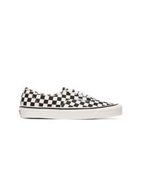 schwarze und weiße Segeltuch niedrige Sneakers mit Karomuster von Vans
