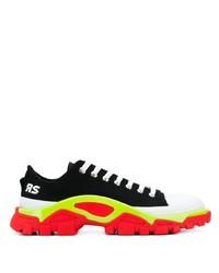 schwarze und weiße Segeltuch niedrige Sneakers von Adidas By Raf Simons