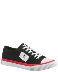 schwarze und weiße Segeltuch niedrige Sneakers von Calvin Klein
