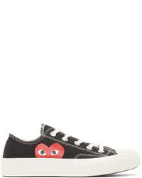 schwarze und weiße Segeltuch niedrige Sneakers von Comme des Garcons