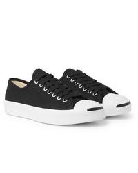 schwarze und weiße Segeltuch niedrige Sneakers von Converse
