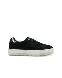 schwarze und weiße Segeltuch niedrige Sneakers von Diesel