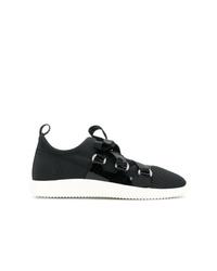 schwarze und weiße Segeltuch niedrige Sneakers von Giuseppe Zanotti Design