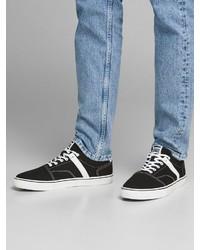 schwarze und weiße Segeltuch niedrige Sneakers von Jack & Jones