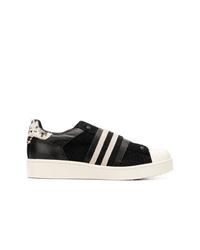 schwarze und weiße Segeltuch niedrige Sneakers von MOA - Master of Arts
