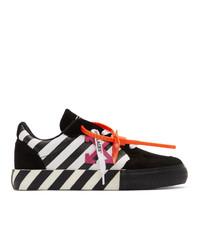 schwarze und weiße Segeltuch niedrige Sneakers von Off-White