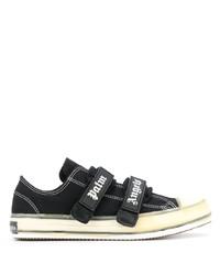 schwarze und weiße Segeltuch niedrige Sneakers von Palm Angels