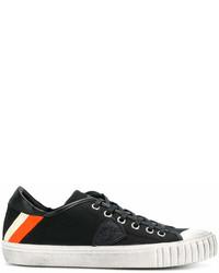 schwarze und weiße Segeltuch niedrige Sneakers von Philippe Model