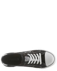 schwarze und weiße Segeltuch niedrige Sneakers von Pioneer Authentic Jeans