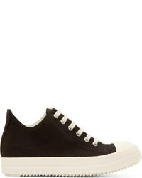 schwarze und weiße Segeltuch niedrige Sneakers von Rick Owens