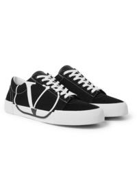 schwarze und weiße Segeltuch niedrige Sneakers von Valentino