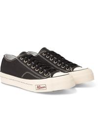 schwarze und weiße Segeltuch niedrige Sneakers von VISVIM