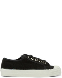 schwarze und weiße Segeltuch niedrige Sneakers von YMC