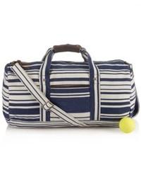 schwarze und weiße Segeltuch Sporttasche