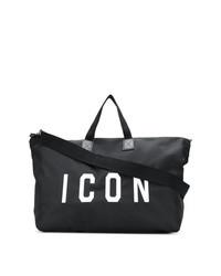 schwarze und weiße Segeltuch Sporttasche von DSQUARED2