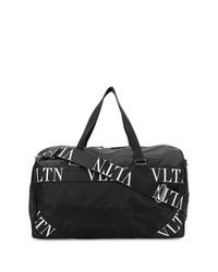 schwarze und weiße Segeltuch Sporttasche von Valentino