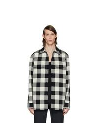 schwarze und weiße Shirtjacke mit Karomuster von Bottega Veneta