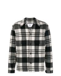 schwarze und weiße Shirtjacke mit Schottenmuster von AMI Alexandre Mattiussi