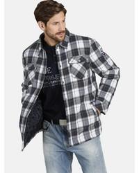 schwarze und weiße Shirtjacke mit Schottenmuster von Jan Vanderstorm