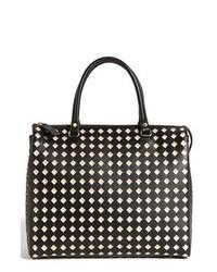 schwarze und weiße Shopper Tasche aus Leder mit geometrischen Mustern