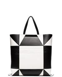 63b698435c409 schwarze und weiße Shopper Tasche aus Leder mit geometrischen Mustern von  Calvin Klein 205W39nyc
