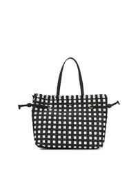 schwarze und weiße Shopper Tasche aus Leder mit geometrischem Muster von Furla