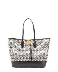 schwarze und weiße Shopper Tasche aus Leder mit geometrischem Muster von Salvatore Ferragamo