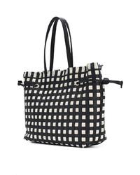 schwarze und weiße Shopper Tasche aus Leder mit geometrischen Mustern von Furla