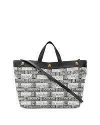 schwarze und weiße Shopper Tasche aus Leder von Balmain