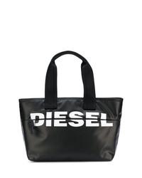 schwarze und weiße Shopper Tasche aus Leder von Diesel